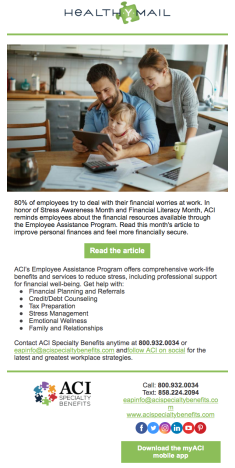 Screen Shot of ACI Specialty Benefits Monthly Client HealthYMail