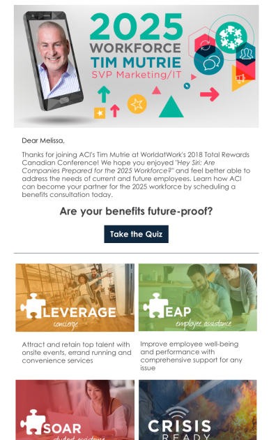 Screen shot of an ACI follow-up email