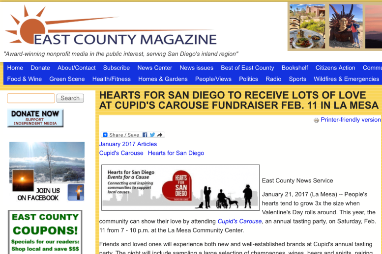 Screen Shot of Hearts for San Diego mentioned in East County Magazine