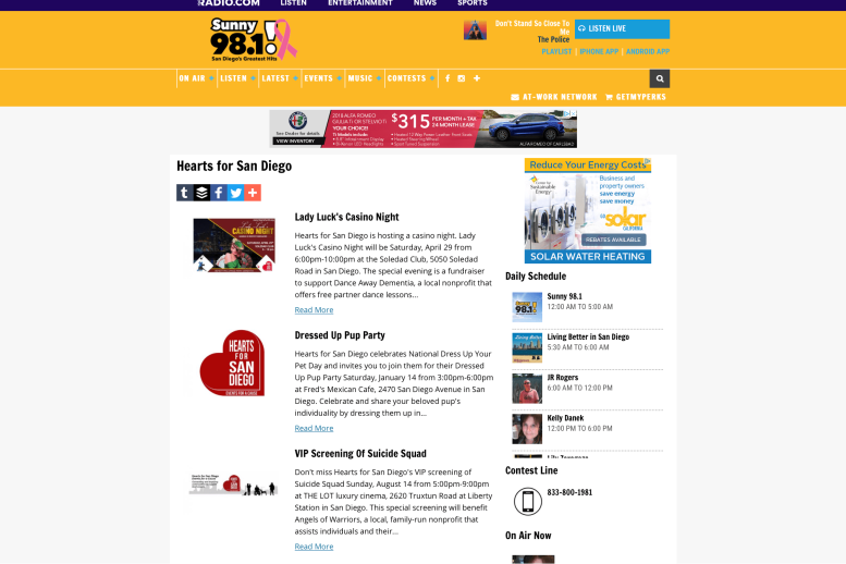 Screen shot of Hearts for San Diego press releases on Sunny 98.1 radio's website