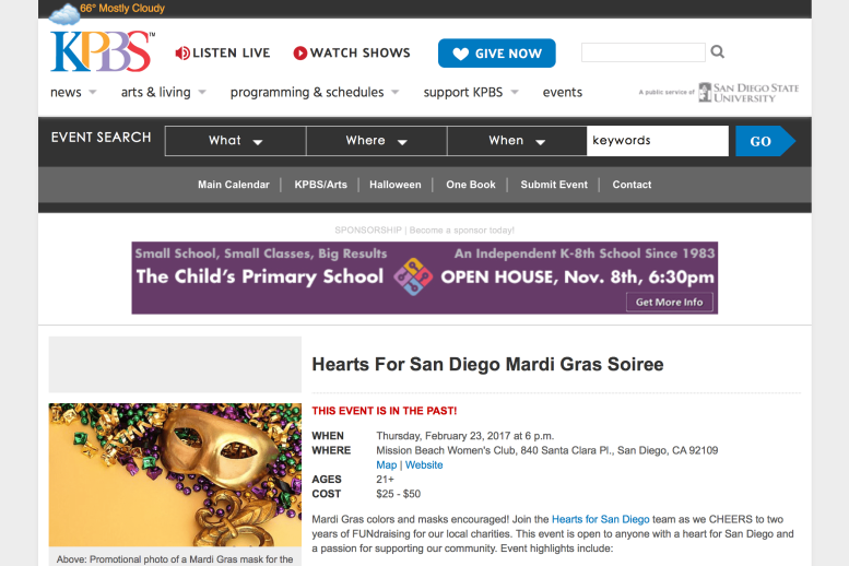 Hearts for San Diego in KPBS