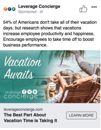 Screenshot of Facebook ad