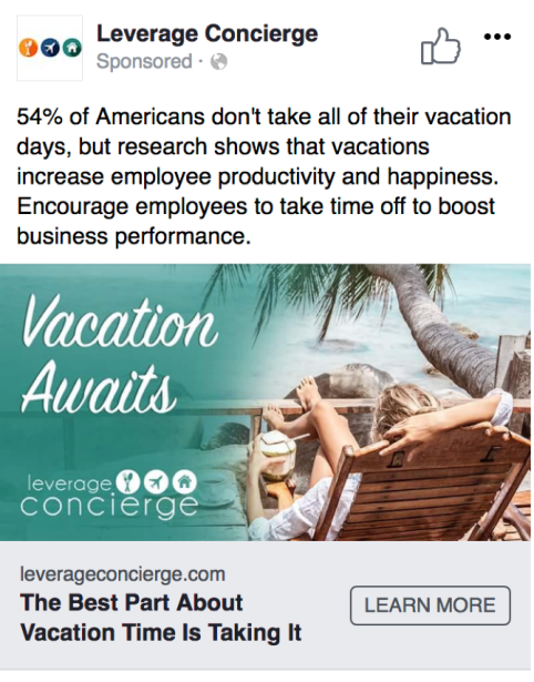 Screenshot of Facebook ad