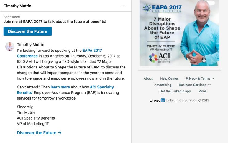 Screenshot of LinkedIn InMail ad
