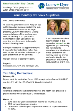 Luers & Dyer Monthly Newsletter