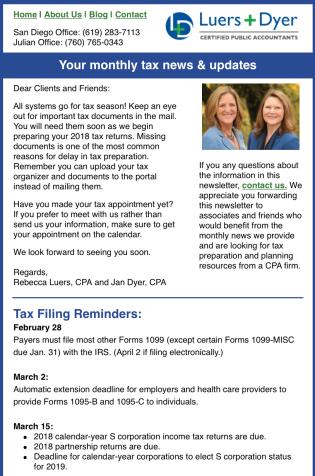 Screenshot of Luers & Dyer newsletter