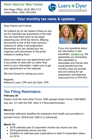 Screenshot of Luers & Dyer newsletter