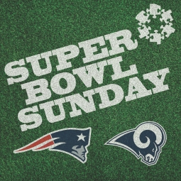 Social media graphic for Super Bowl Sunday